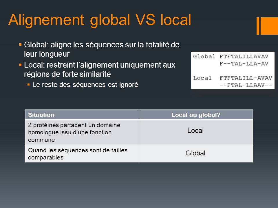 Alignement global VS local