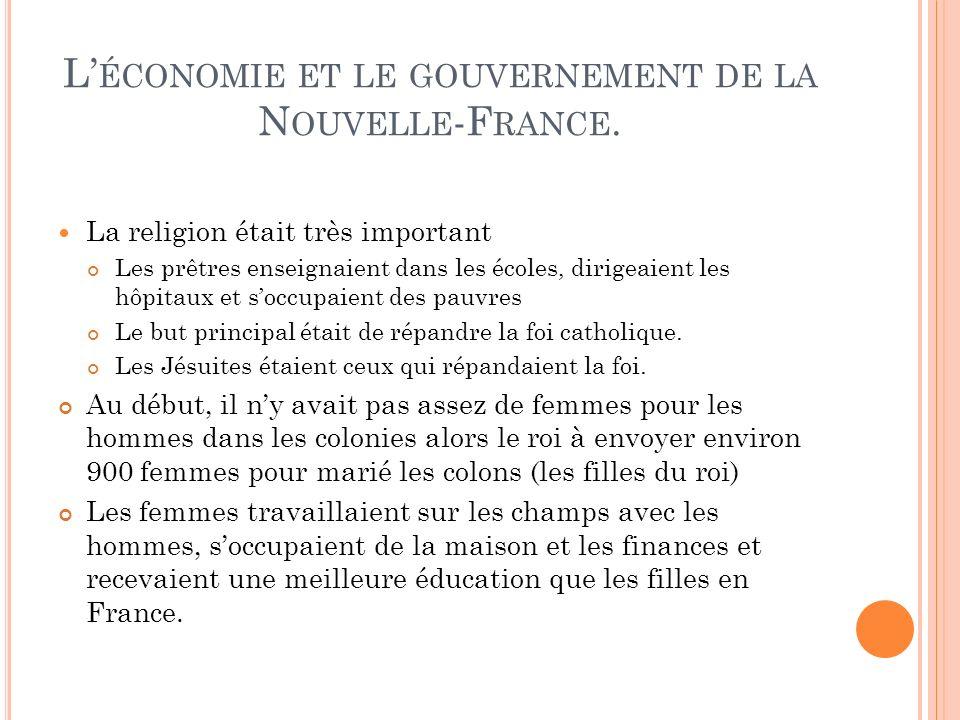 L'économie et le gouvernement de la Nouvelle-France.