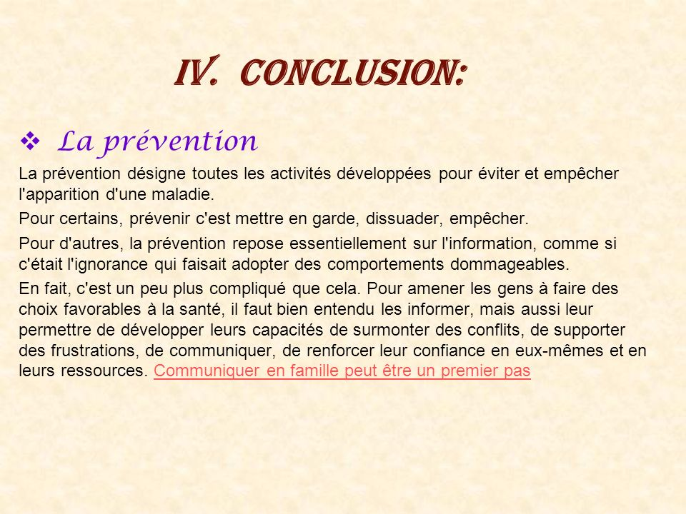 Conclusion: La prévention