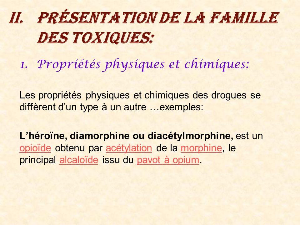Présentation de la famille des toxiques: