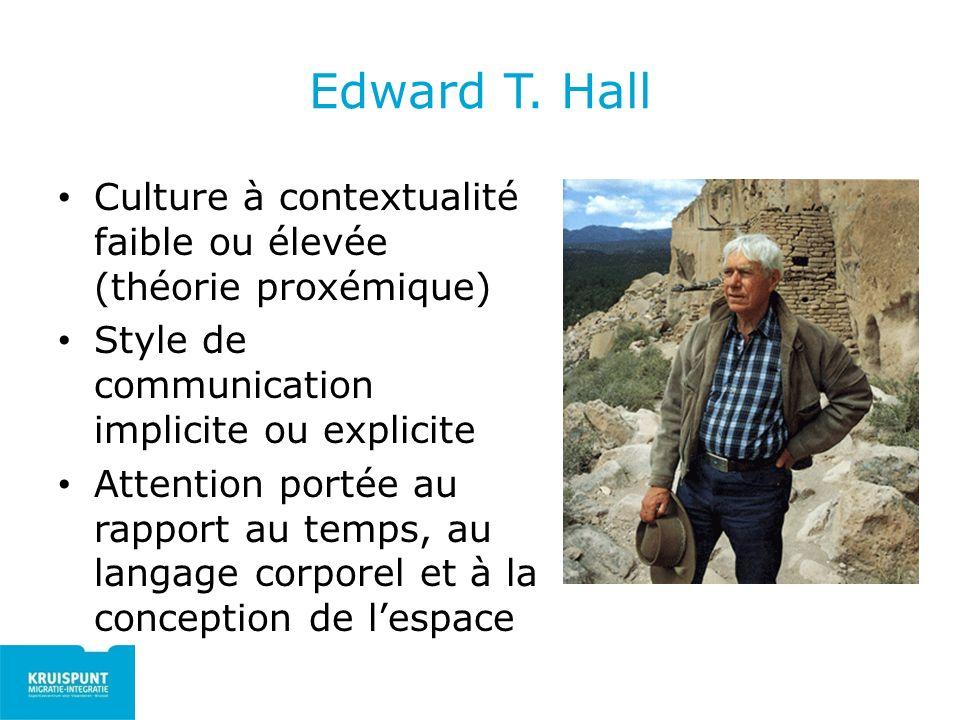 Edward T. Hall Culture à contextualité faible ou élevée (théorie proxémique) Style de communication implicite ou explicite.