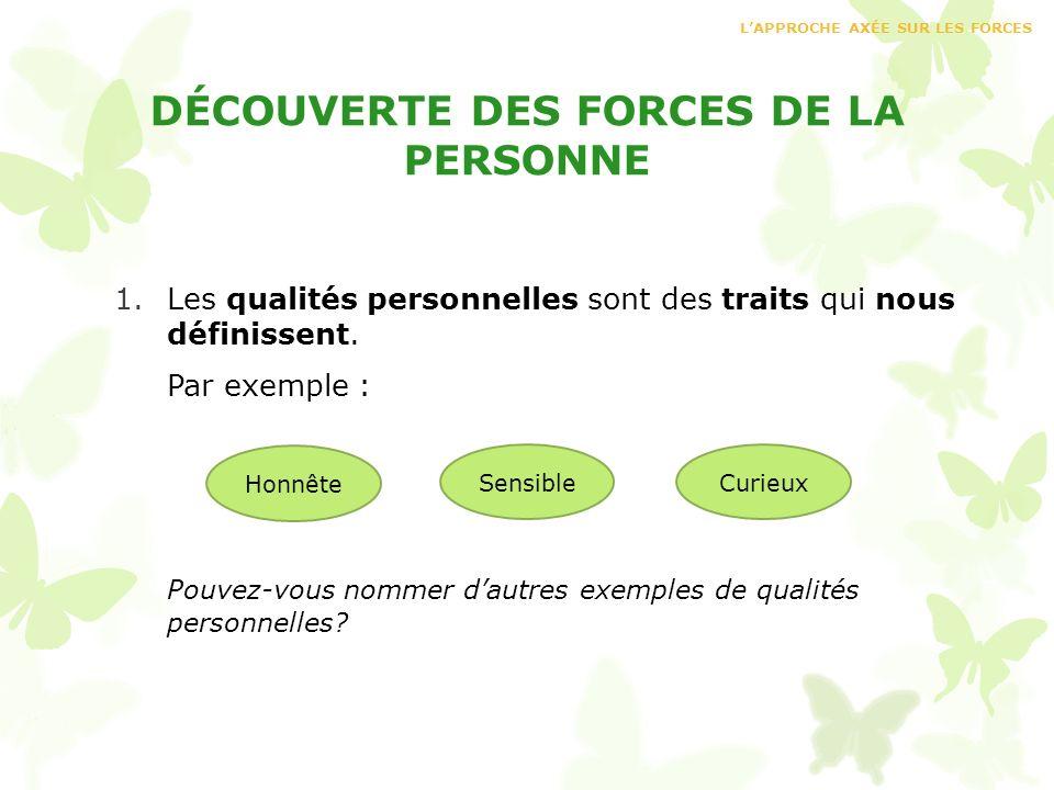 DÉCOUVERTE DES FORCES DE LA PERSONNE