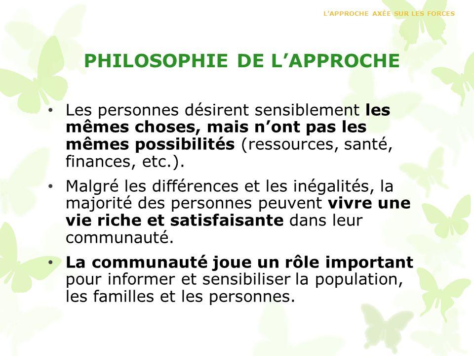 PHILOSOPHIE DE L'APPROCHE