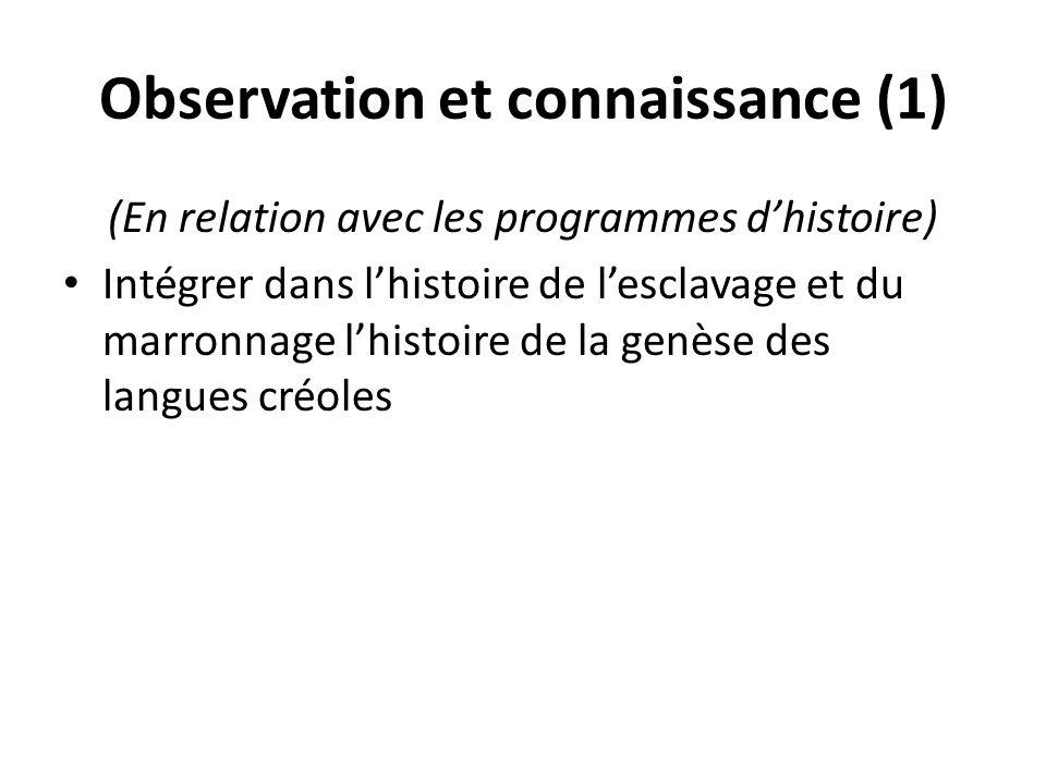 Observation et connaissance (1)