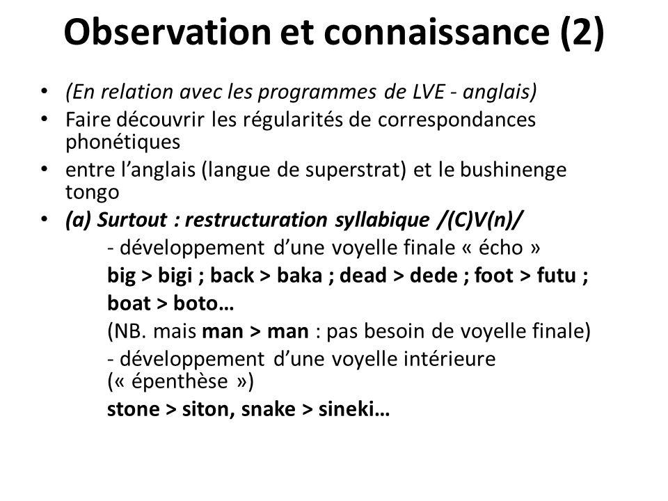 Observation et connaissance (2)