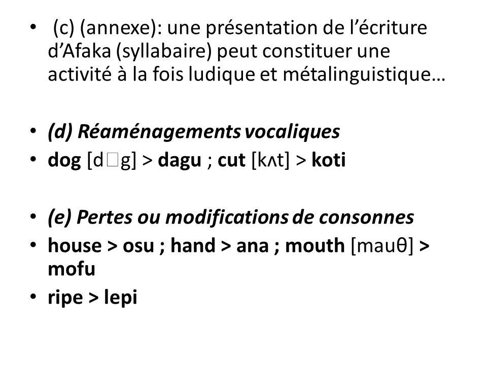 (c) (annexe): une présentation de l'écriture d'Afaka (syllabaire) peut constituer une activité à la fois ludique et métalinguistique…