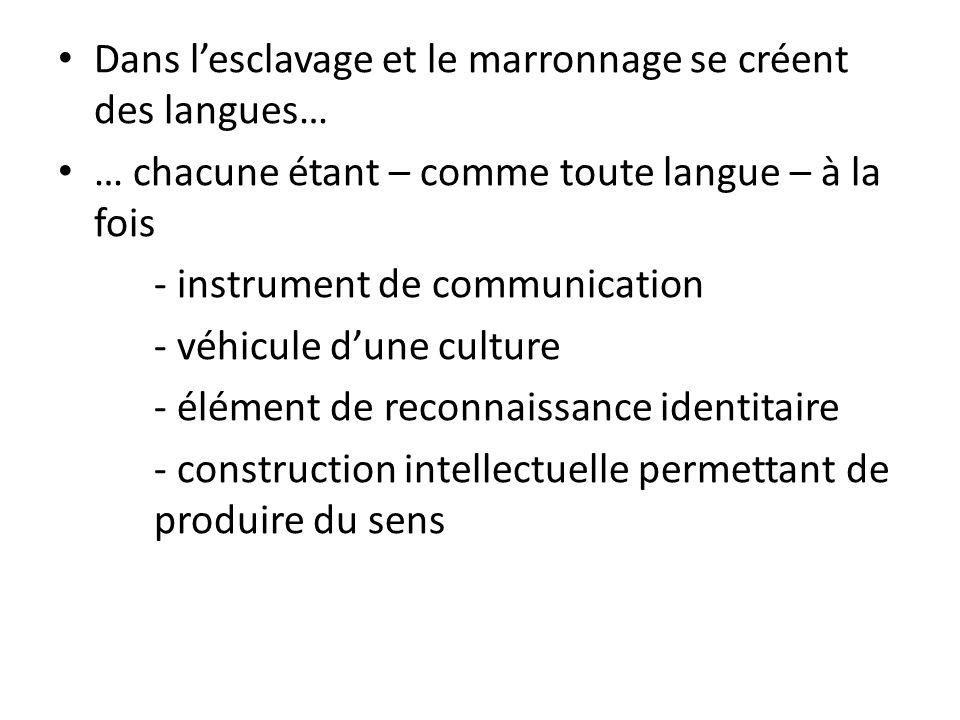 Dans l'esclavage et le marronnage se créent des langues…