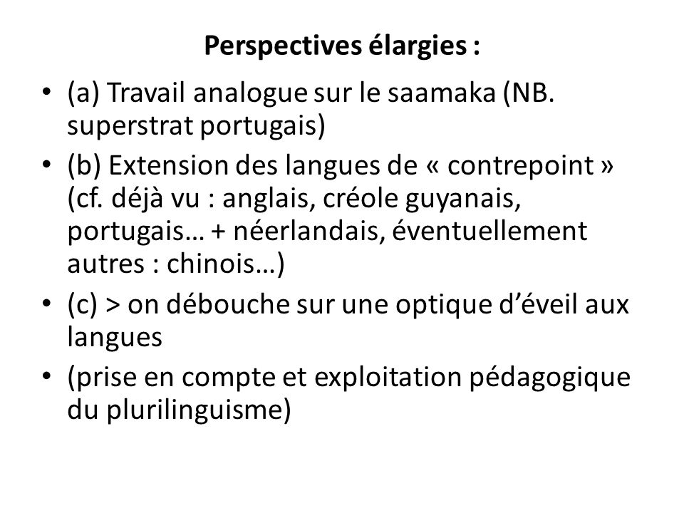 Perspectives élargies :