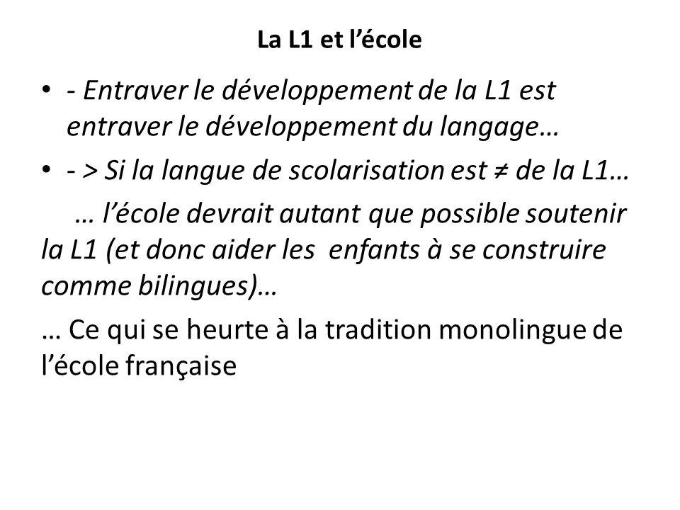 - > Si la langue de scolarisation est ≠ de la L1…