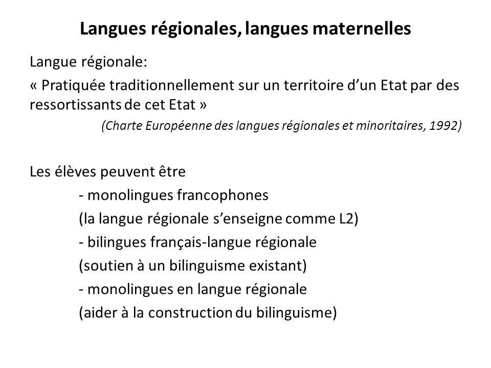 Langues régionales, langues maternelles