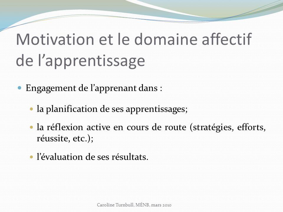 Motivation et le domaine affectif de l'apprentissage