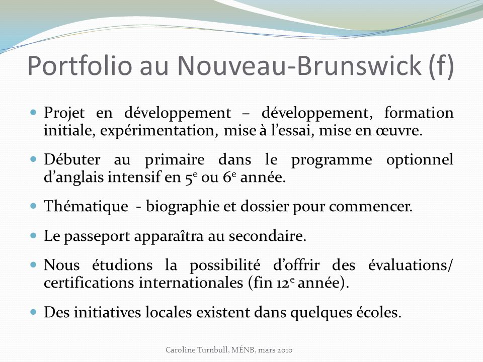 Portfolio au Nouveau-Brunswick (f)