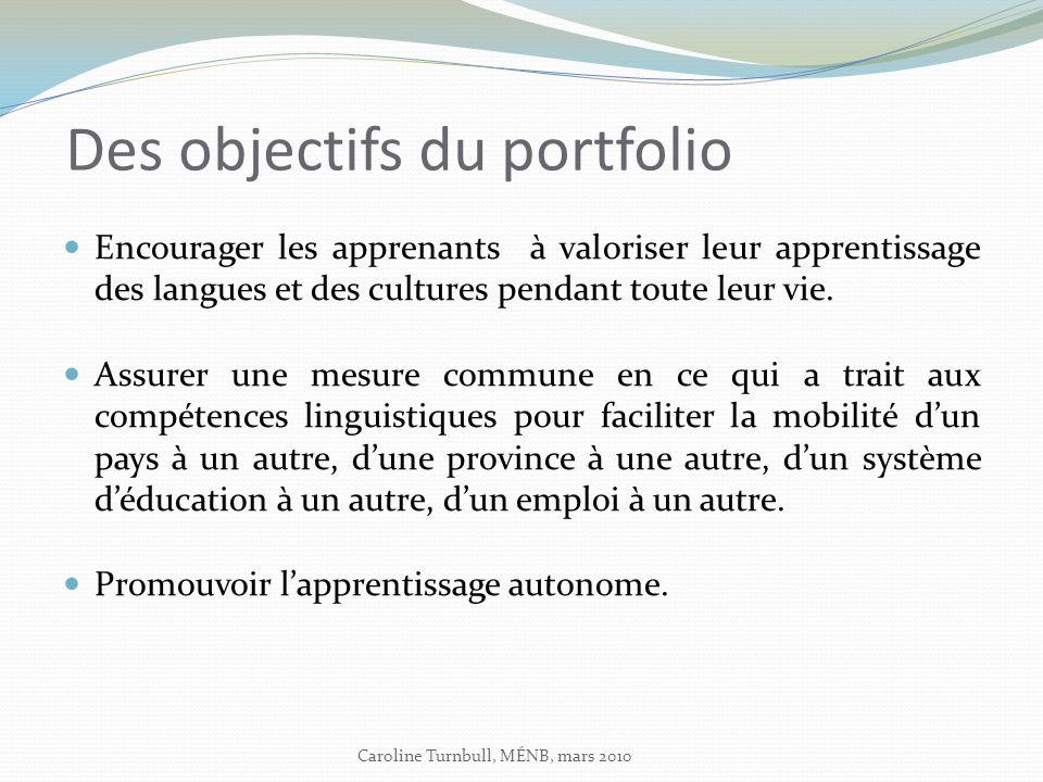 Des objectifs du portfolio