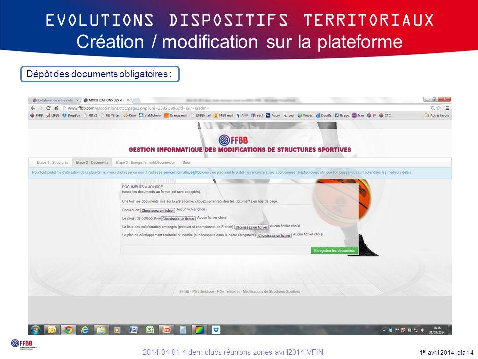 EVOLUTIONS DISPOSITIFS TERRITORIAUX Création / modification sur la plateforme