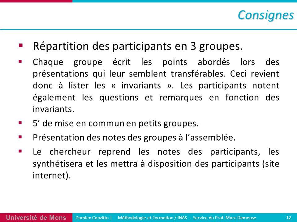 Consignes Répartition des participants en 3 groupes.