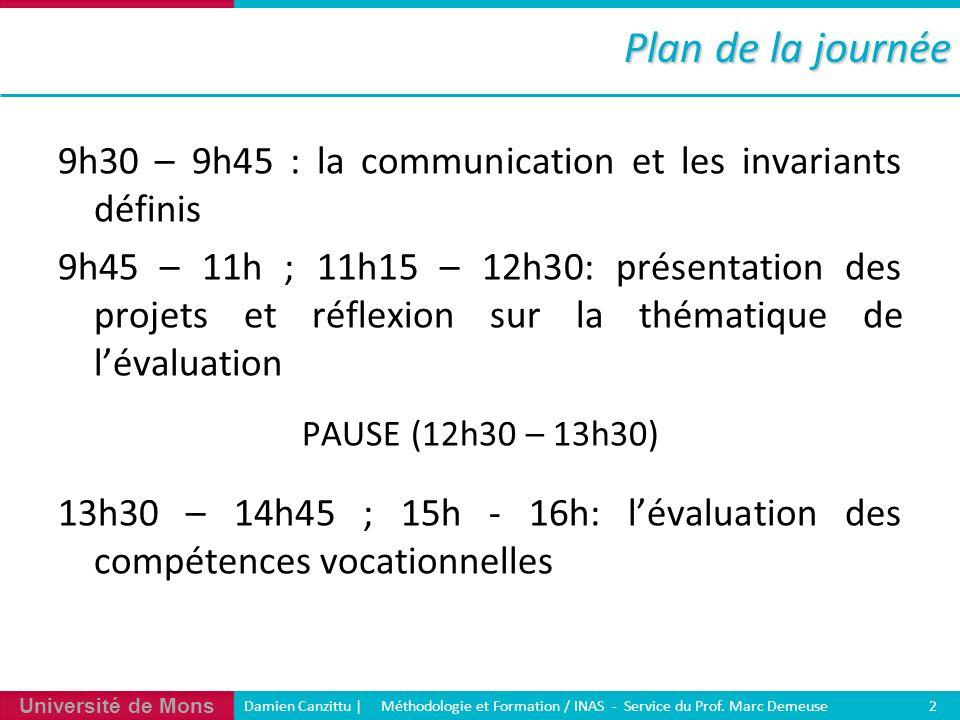 Plan de la journée 9h30 – 9h45 : la communication et les invariants définis.