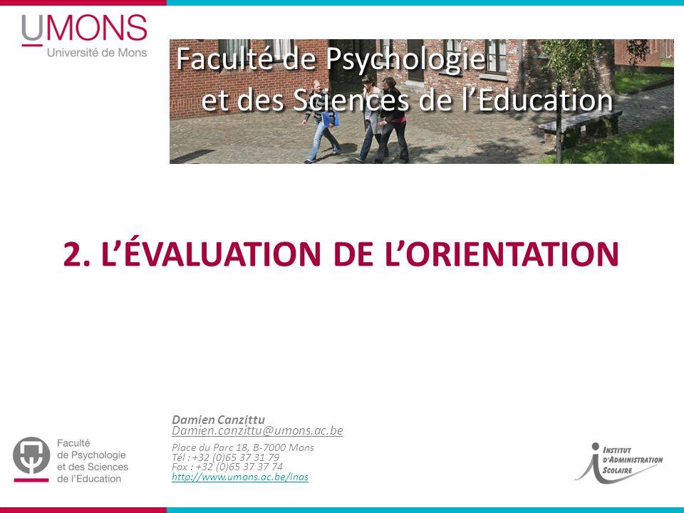 2. L'évaluation de l'orientation