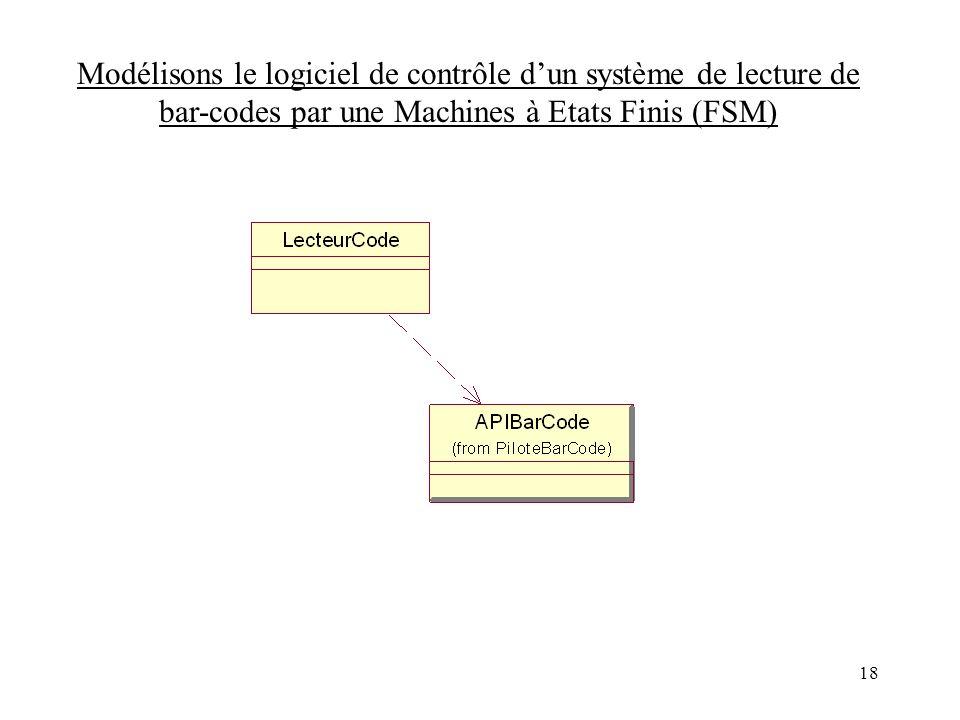Modélisons le logiciel de contrôle d'un système de lecture de bar-codes par une Machines à Etats Finis (FSM)