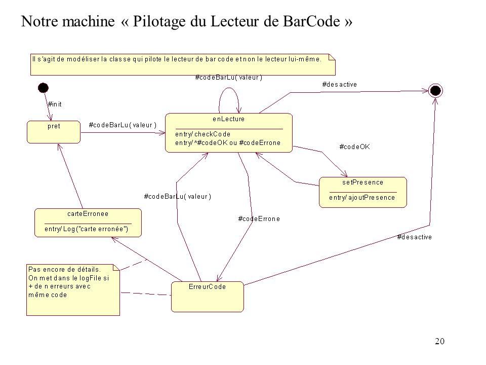Notre machine « Pilotage du Lecteur de BarCode »