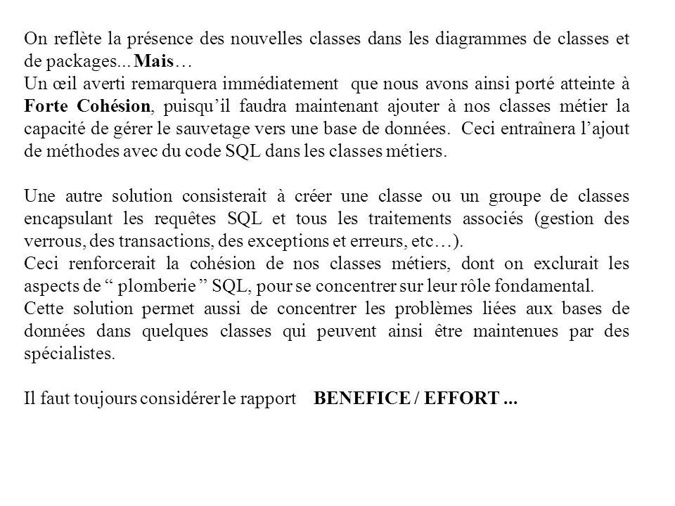 On reflète la présence des nouvelles classes dans les diagrammes de classes et de packages... Mais…