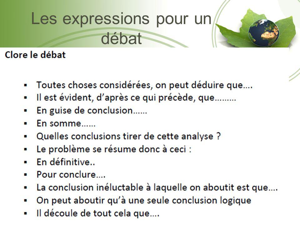 Les expressions pour un débat