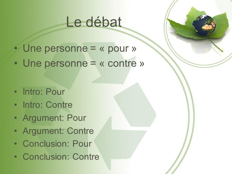 Le débat Une personne = « pour » Une personne = « contre » Intro: Pour