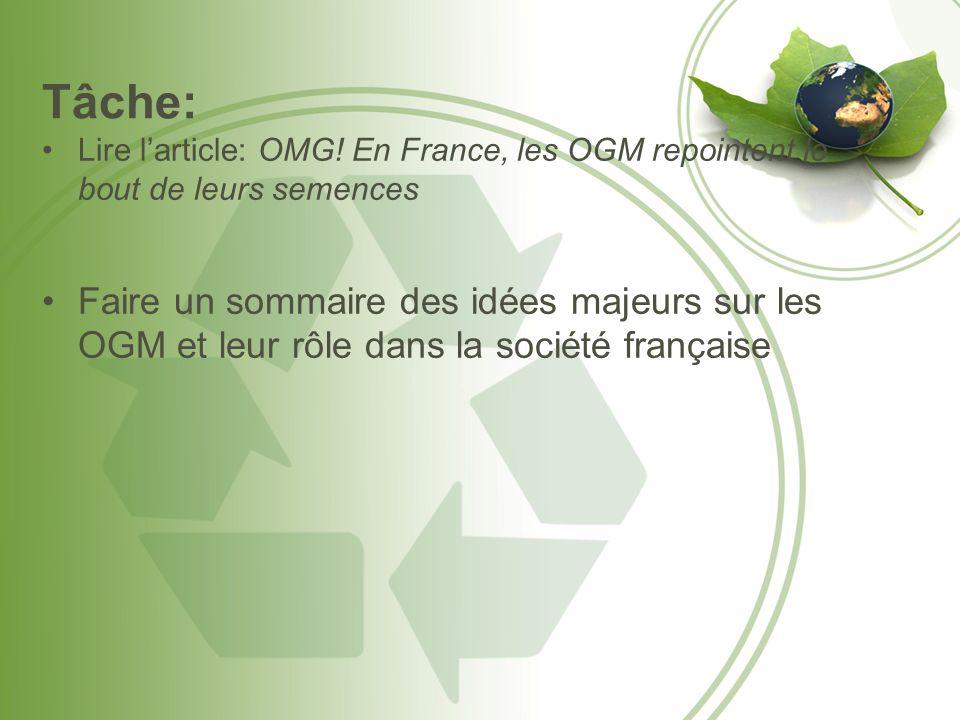 Tâche: Lire l'article: OMG! En France, les OGM repointent le bout de leurs semences.