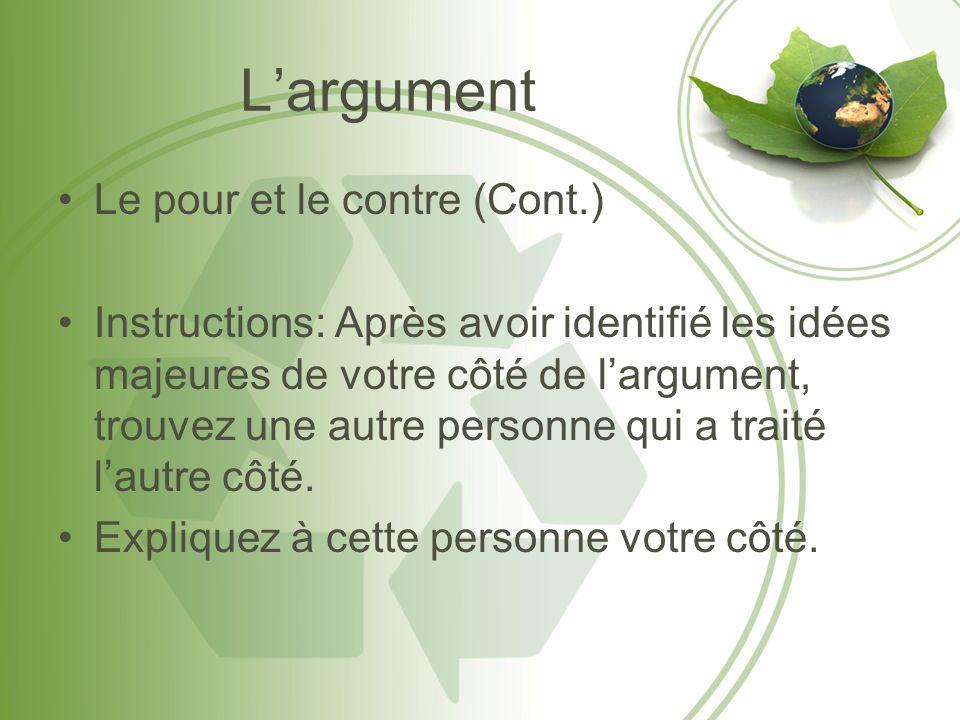 L'argument Le pour et le contre (Cont.)