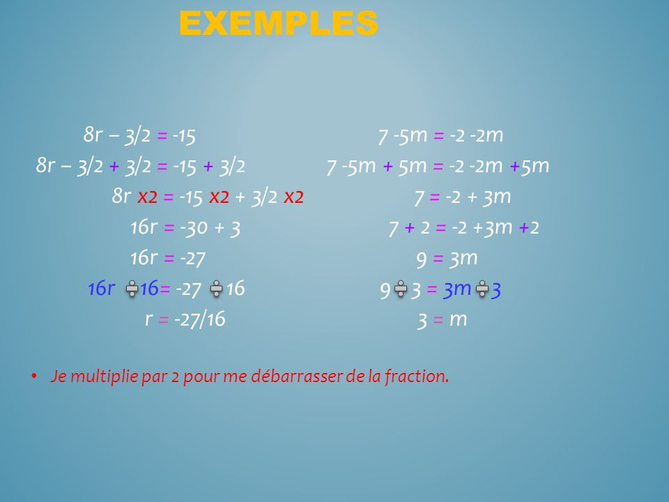 Exemples 8r – 3/2 = -15 7 -5m = -2 -2m. 8r – 3/2 + 3/2 = -15 + 3/2 7 -5m + 5m = -2 -2m +5m.