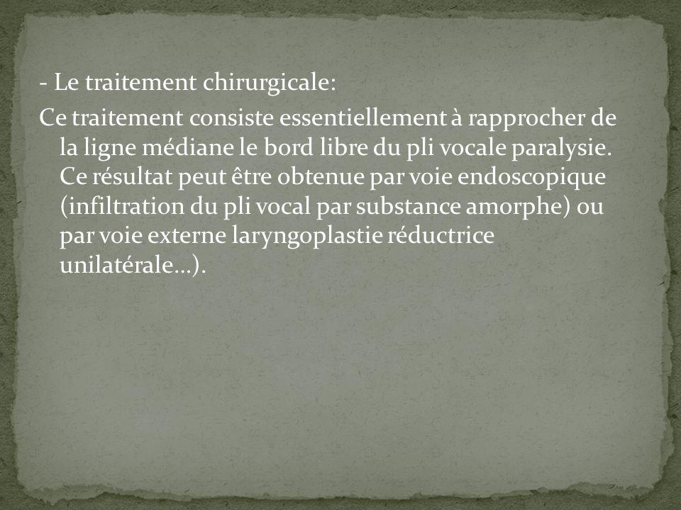 - Le traitement chirurgicale: Ce traitement consiste essentiellement à rapprocher de la ligne médiane le bord libre du pli vocale paralysie.