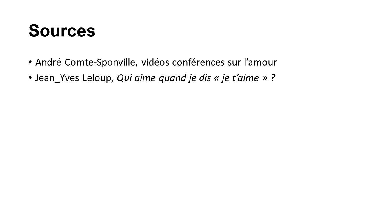 Sources André Comte-Sponville, vidéos conférences sur l'amour