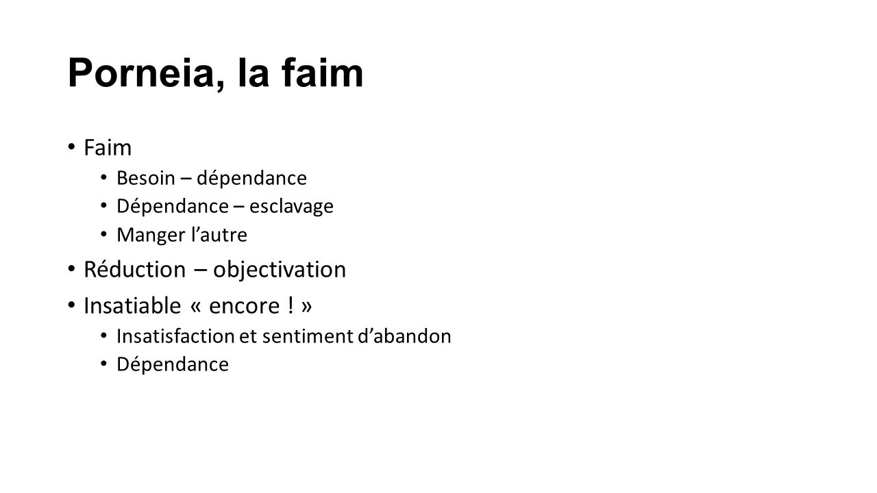Porneia, la faim Faim Réduction – objectivation