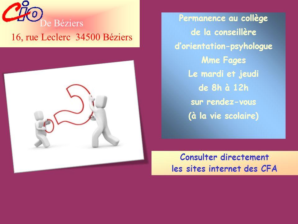 De Béziers 16, rue Leclerc 34500 Béziers Permanence au collège