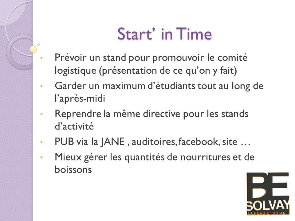 Start' in Time Prévoir un stand pour promouvoir le comité logistique (présentation de ce qu'on y fait)