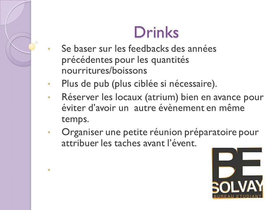 Drinks Se baser sur les feedbacks des années précédentes pour les quantités nourritures/boissons.