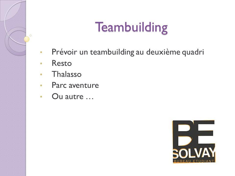 Teambuilding Prévoir un teambuilding au deuxième quadri Resto Thalasso