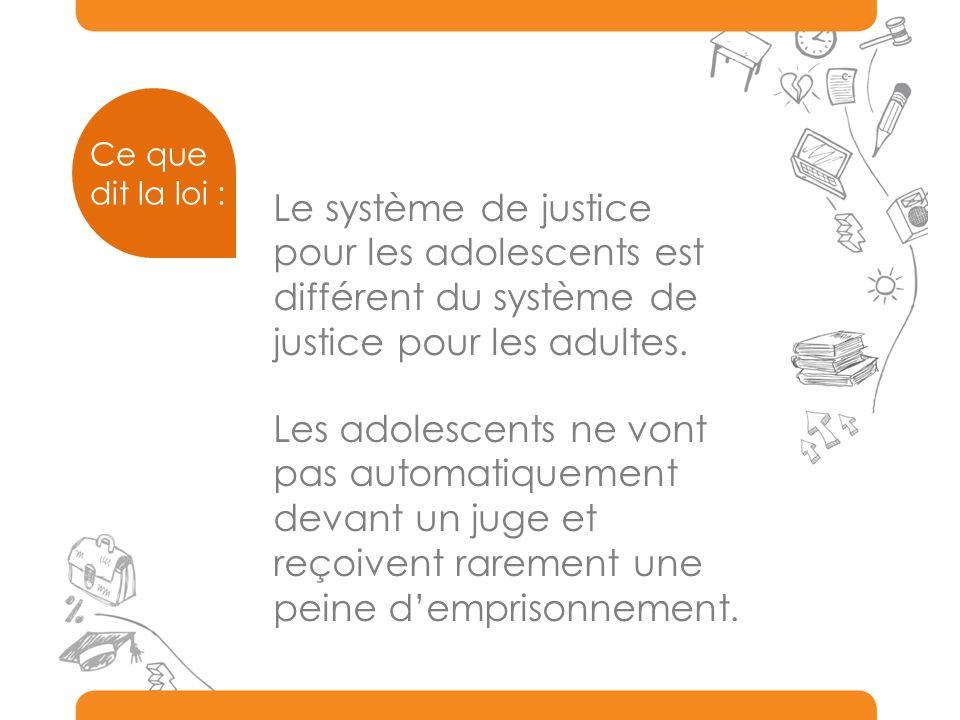 Ce que dit la loi : Le système de justice pour les adolescents est différent du système de justice pour les adultes.