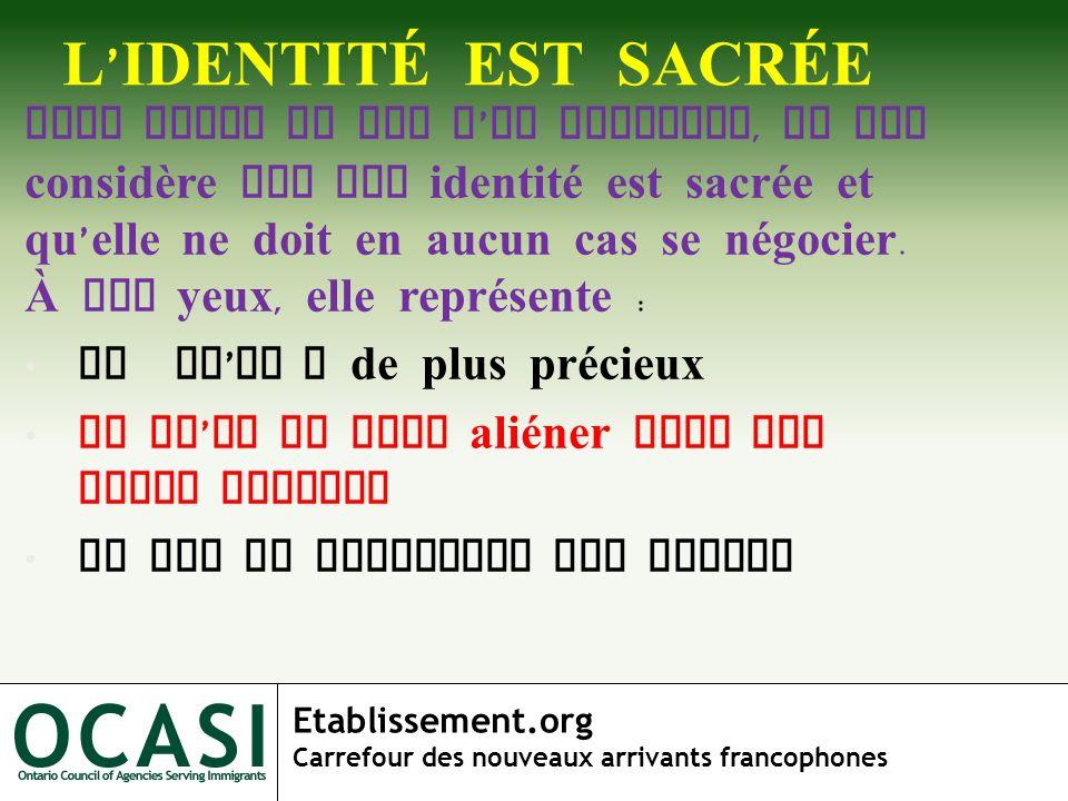 L'IDENTITÉ EST SACRÉE