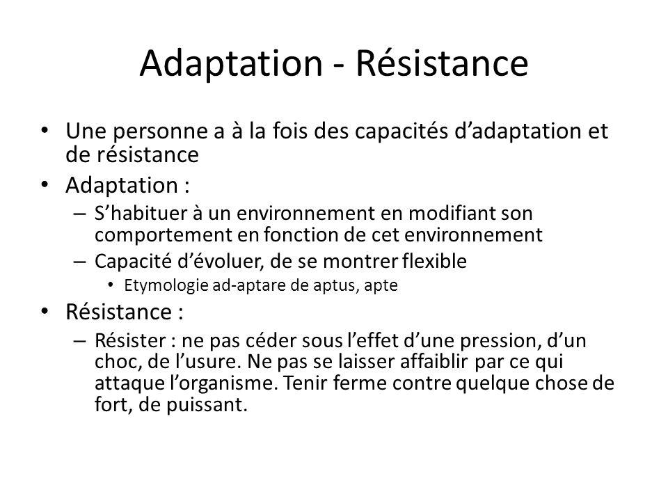 Adaptation - Résistance