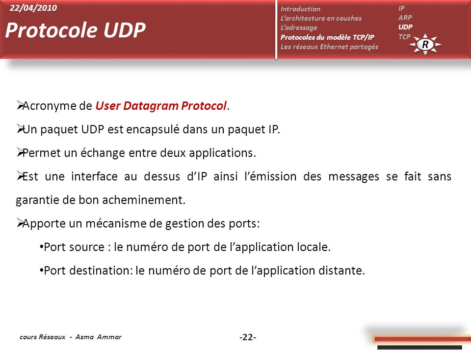 Protocole UDP Acronyme de User Datagram Protocol.