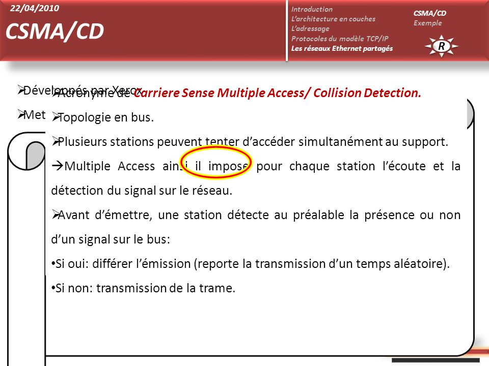 CSMA/CD Développés par Xerox