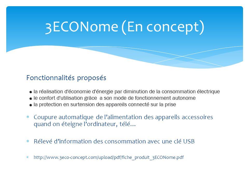 3ECONome (En concept) Fonctionnalités proposés