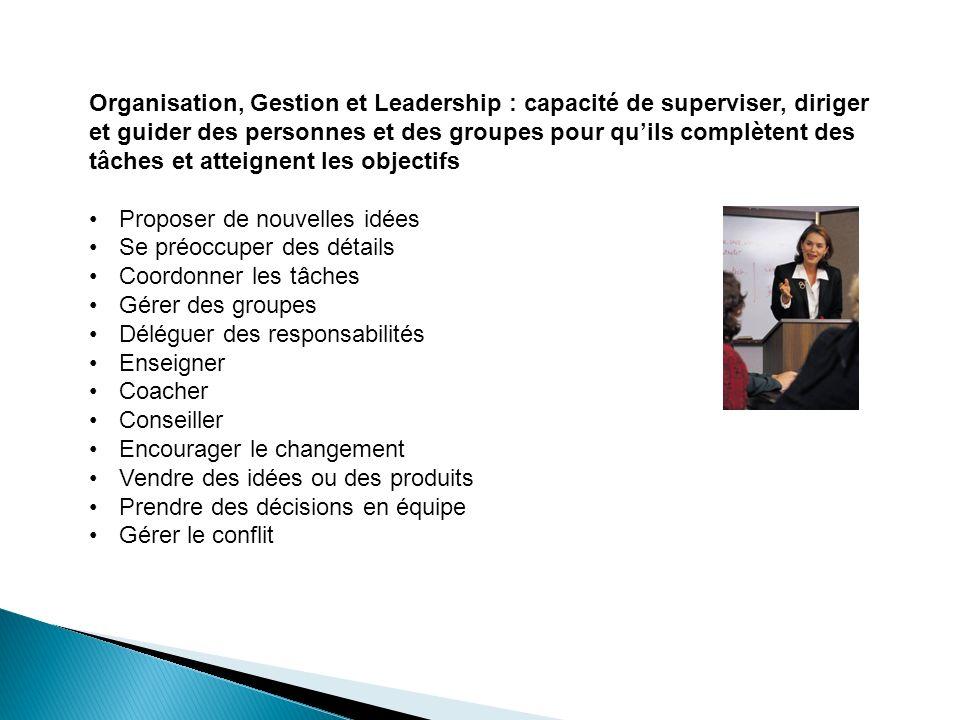 Organisation, Gestion et Leadership : capacité de superviser, diriger et guider des personnes et des groupes pour qu'ils complètent des tâches et atteignent les objectifs