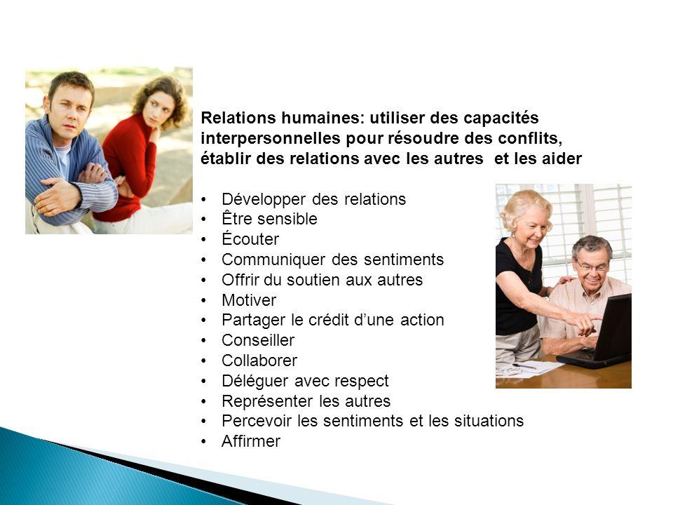 Relations humaines: utiliser des capacités interpersonnelles pour résoudre des conflits, établir des relations avec les autres et les aider