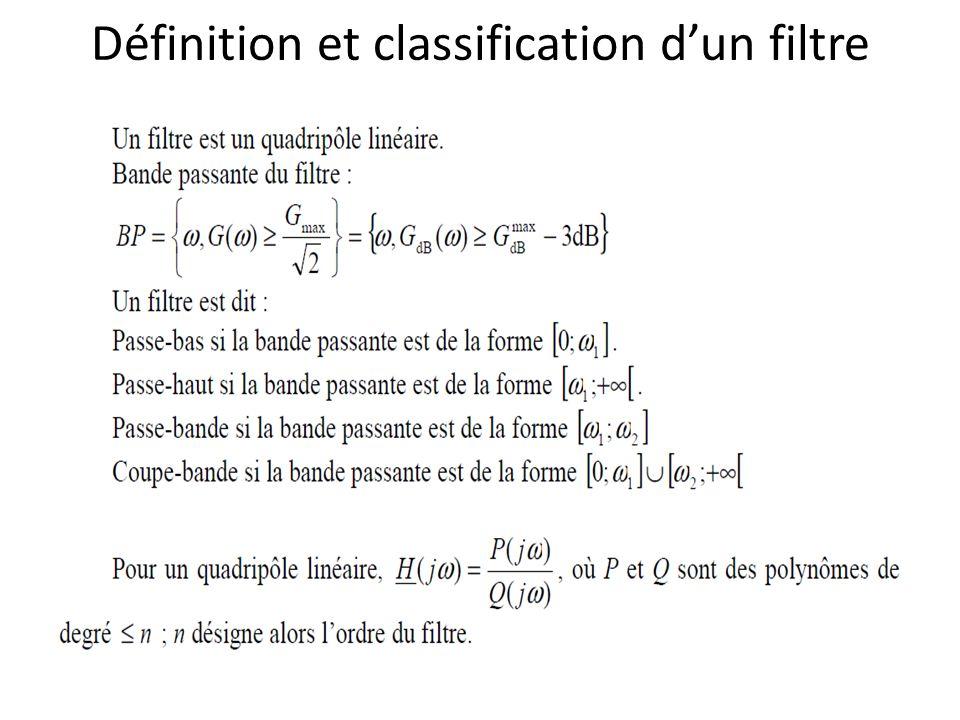 Définition et classification d'un filtre