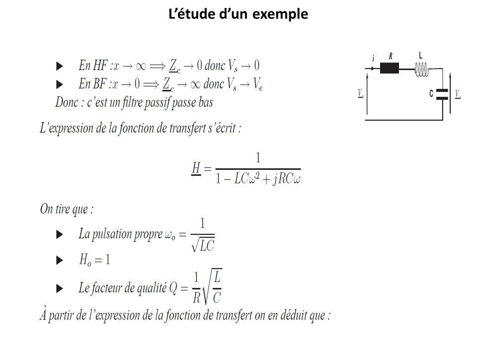 L'étude d'un exemple