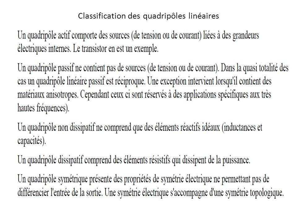 Classification des quadripôles linéaires