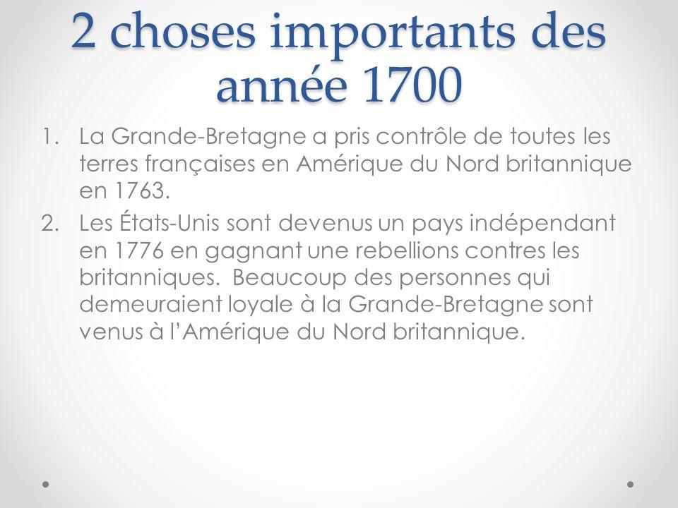 2 choses importants des année 1700