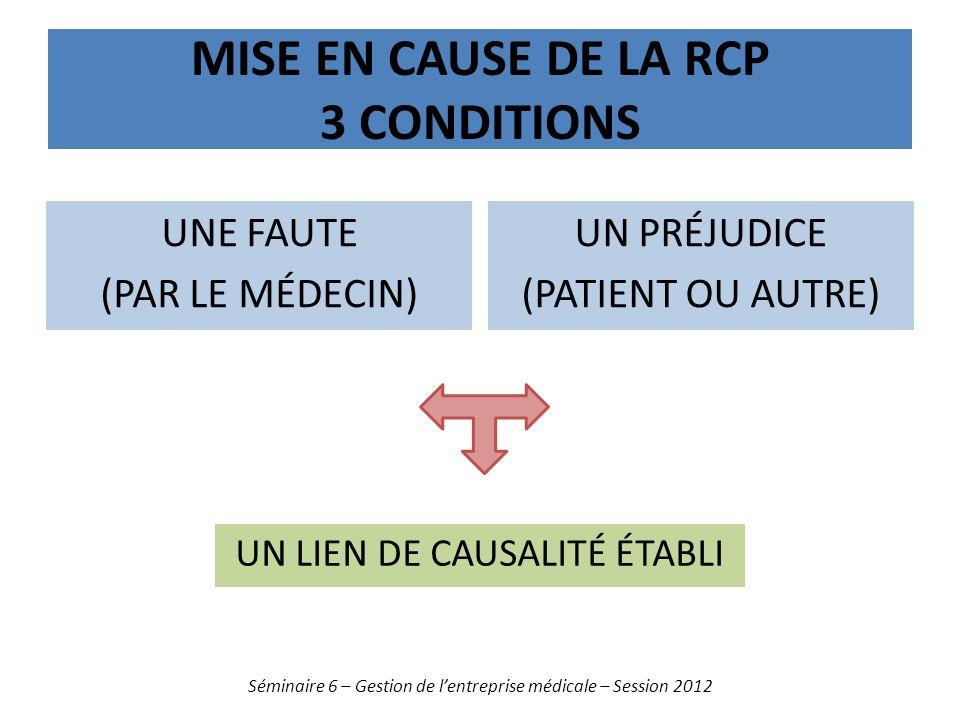Mise en cause de la rcp 3 conditions