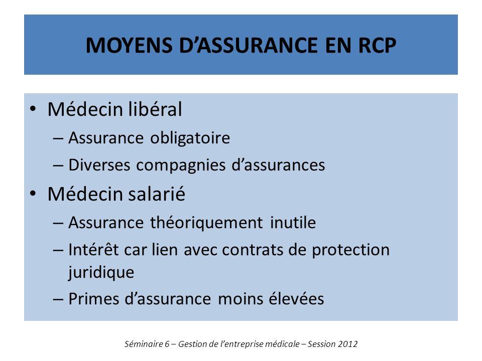 Moyens d'assurance en rcp